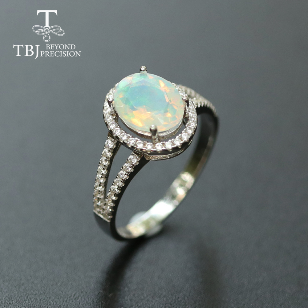 Opal Ring Natural Gemstone Jewelry Solid 925 Sterling Silver Simple Design Fine Jewelry Christmas For Women,wife Nice Gift