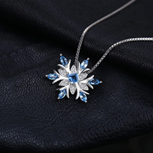Sterling Silver Natural Topaz Snowflake Pendant Necklace