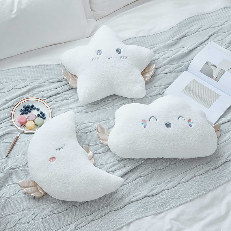 white doll angel star plush toy pillow white cloud toys girl heart sofa cushion wings moon doll toy for children