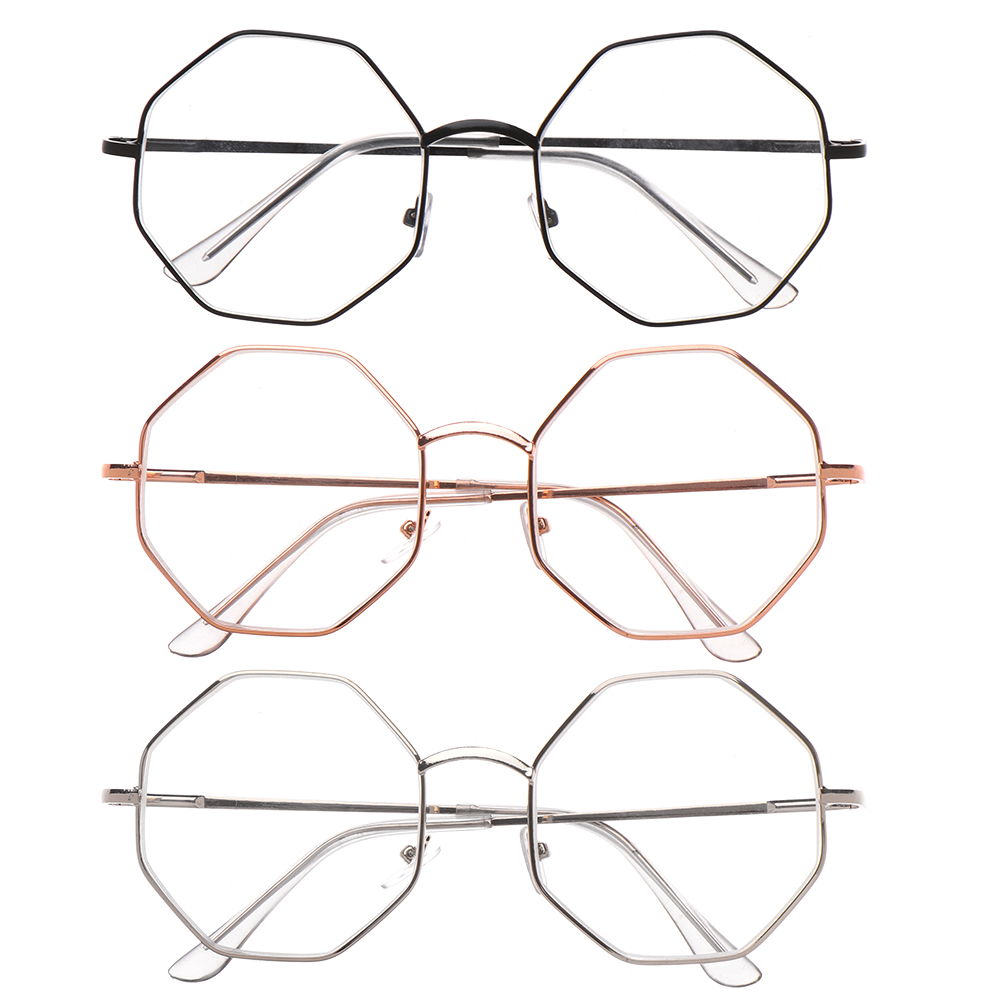 Fashion Metal Polygon Myopia Glasses Unisex Ultra Light Resin Reading Glasses Vintage Eyeglasses Vision Care -1.00~-4.0 Diopter