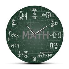 Zielona tablica matematyka formuły zegar ścienny wiszący zegar ścienny powrót do szkoły nauka matematyka dekoracje na ścianę matematyka Geek prezent tanie tanio The Vinyl Clock CN (pochodzenie) Krótkie CZ-0525 circular Akrylowe 30cm Pojedyncze twarzy 300mm QUARTZ Zegary ścienne