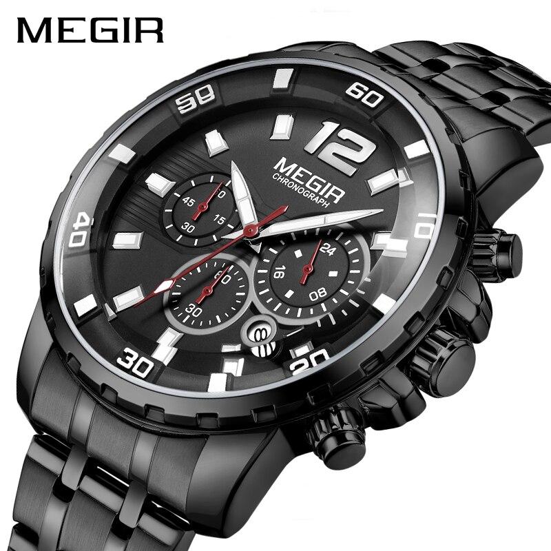MEGIR noir acier inoxydable hommes montres haut de gamme de luxe lumineux étanche montre à Quartz homme Relogio Masculino livraison directe