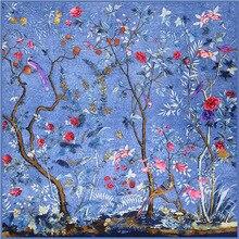 Новое поступление, саржевый Шелковый квадратный шарф для женщин, натуральный шелк, модный квадратный шарф с цветами и птицами, Шелковые Подарки