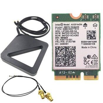 Комплект антенн с высоким коэффициентом усиления + Intel Wi-Fi 6 AX201 Bluetooth 5,0 двухдиапазонный 802.11AC/AX NGFF CNVI карта