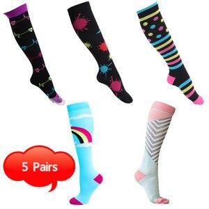 Image 2 - Unisex meias de compressão para homem e mulher 4 pares 15 20 mmhg protetor de perna de enfermagem médica correndo ciclismo meias de náilon