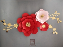 FFS Red plum blossom 3D artificial paper Flower three-dimensional decoration party  wedding shopwindow Wall Decoration