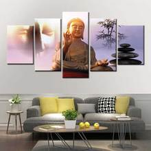 5 pieces HD Abstract Buddha head Wall art picture portrait painting poster canvas living room print home decoration frame