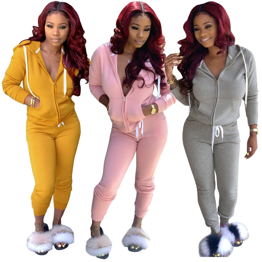 2 Piece Set Women Pant And Top Autumn Plus Size Casual Outfit Sexy Sweat Suits Two Piece Sweatshirt Tracksuit 2019