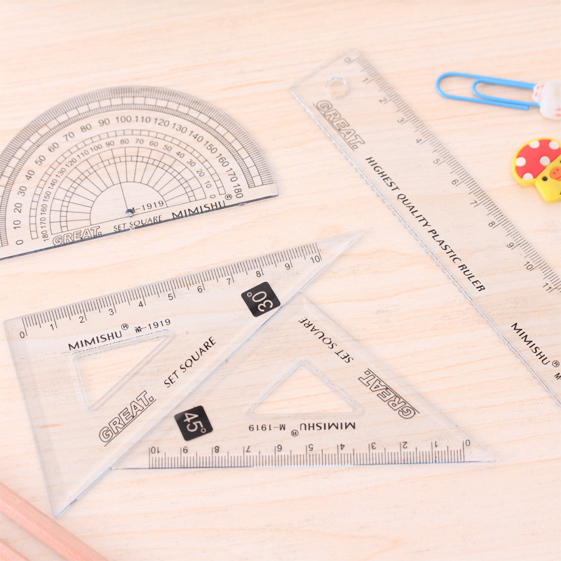 80pcs/20sets Clear Plastic Rules Set Of Drafting Rules Triangle Ruler Scale Kids Stationery Gift Set Cute School Office Supplies