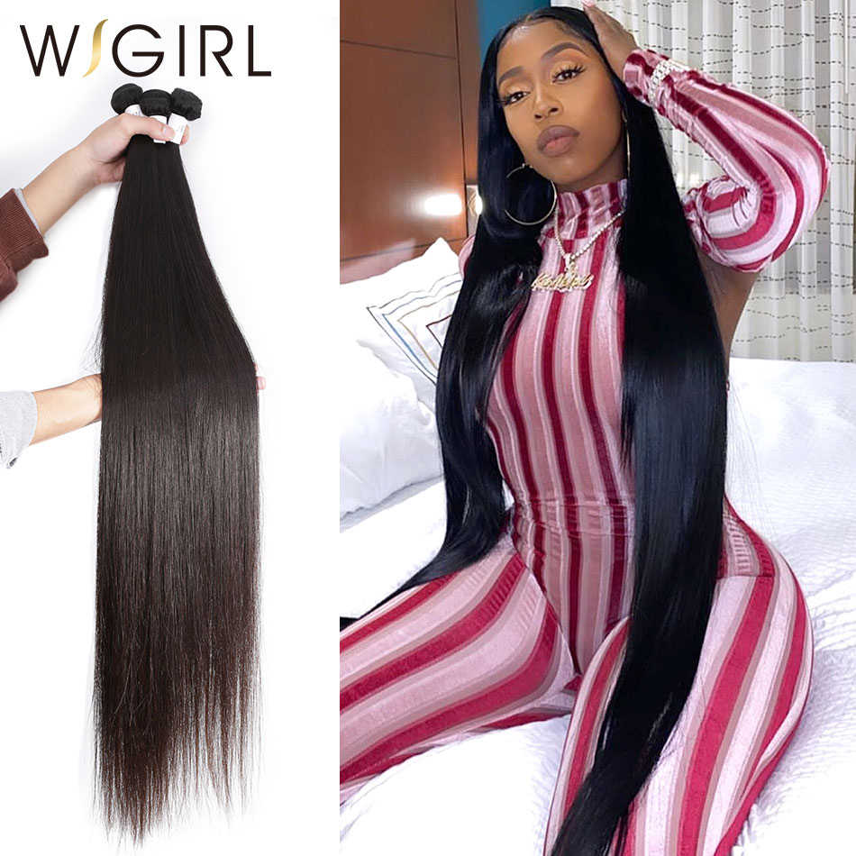Wigirl Straight 8 - 28 30 32 40 Inch Long Remy Indian Human Hair Weave 1 3 4 5 Bundles Deal Double Drawn 100% Natural