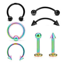 Piercing Set 7pcs Stainless Steel Horseshoe Nose Ear Tragus Cartliage Tongue Eyebrow Nose Lip Captive Rings Sexy Body Jewelry(China)