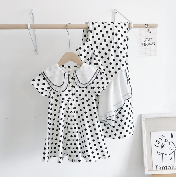 Family Match Outfits Summer Dress Sling Polka Dot Mother Daughter Dresses Mom and Girls Clothes 1 2 3 4 5 Years