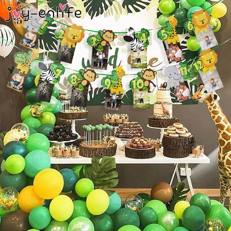 Jungle Animal Theme 1-12 Months Photo Frame Banner Baby 1st Birthday Decorations Baby Boy Girl My First One Year Party Supplies(China)