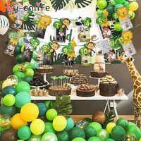 Tema Animal de la selva 1-12 marco de fotos de meses Banner decoraciones de 1er cumpleaños del bebé niño niña mi primer año suministros de fiesta