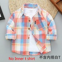 Boys' Long-Sleeve Plaid Shirt Coat Spring Clothes Autumn Toddler Children's Clothing Shirt Children's Baby Small Kids Blouses