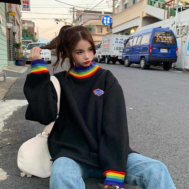 NiceMix Harajuku Hoodie Woman 2019 Autumn Winter Streetwear Couple Kawaii Oversized High Neck Knit Long Sleeve Tops Frends Sweat