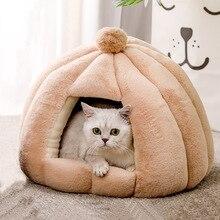 Cama de pelúcia para gatos, cama de pelúcia para cachorros e gatos pequenos, casa fechada, hamster, gatinho, cachorrinho, ninho dobrável suprimentos para gatos