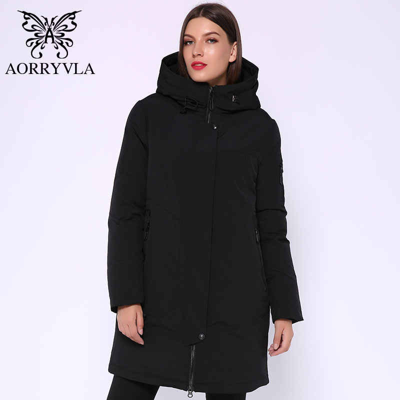 AORRYVLA 2019, зимняя Длинная женская куртка, парка с капюшоном, ветрозащитная куртка с воротником, Толстая Теплая Повседневная зимняя женская модная куртка