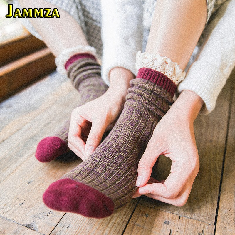 Women Fashion Lace Socks Jacquard Stripe Casual Wild Wool Heap Socks Candy Color Mori Girl Korea Style Vintage New Skirt Sokken