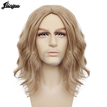 Ebingoo Captain Marvel High Temperature Fiber Brown Medium Length Body Wave Synthetic Cosplay Wigs Middle Part for Men Custome
