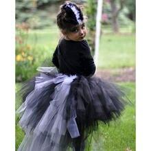 Повседневные черно белые пушистые юбки для девочек юбка пачка