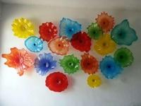 Novo Multi Color Placas De Vidro Murano Arte Da Parede Vieira Edges Flor Arte Da Parede Lâmpadas de Vidro Soprado