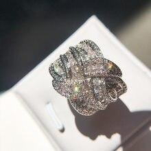 Bling cz zircão pedra s925 prata esterlina, cor da banda, anéis para mulheres, casamento, noivado, moda, joias de luxo, novo, 2019