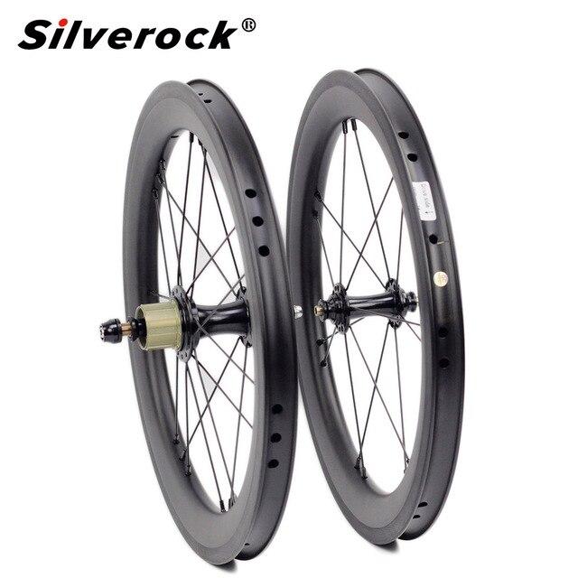 """אופני פחמן זוג גלגלי 5 6 7 מהירות 16x1 3/8 """"349 זוג גלגלי 14H/21H לברומפטון 3 שישים Ultralight מתקפל אופני גלגלים"""