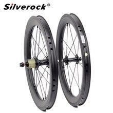 """Juego de ruedas de carbono para bicicleta, juego de ruedas de 5 6 7 velocidades 16x1 3/8 """"349, 14H/21H para Brompton 3sixty, ruedas de bicicleta plegables ultraligeras"""