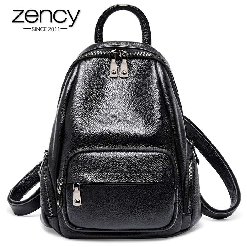 Zency Daily Casual Women Backpack 100% Genuine Leather Classic Black Lady Travel Bag High Quality Girl's Schoolbag Knapsack