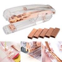 Newly Rose Gold High grade Transparent Plastic Stapler Office Study Binding Machine VA88|Home Office Storage|   -