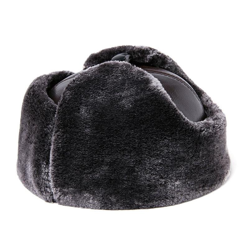 Мужская шапка Фибоначчи, зимняя, Воловья кожа, брендовая, качественная, натуральная, Кожаная шапка с мехом, Pom Ear, защита, шапки-бомберы, Русская Шапка-ушанка