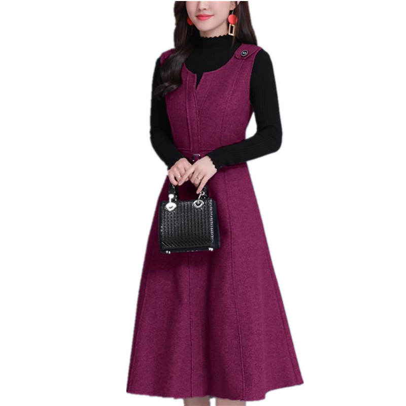 Women Wool Vest Dress Fashion Autumn Winter Elegant Slim O neck Sleeveless Dress Plus size Ladies With pocket Woolen Dress 3XL image