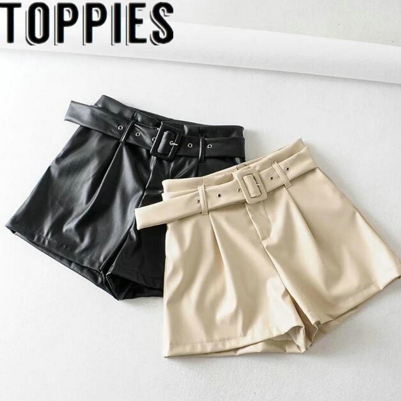 2019 Autumn Winter High Waist Belted Pu Leather Shorts Beige Black Color Faux Leather Bermuda Shorts
