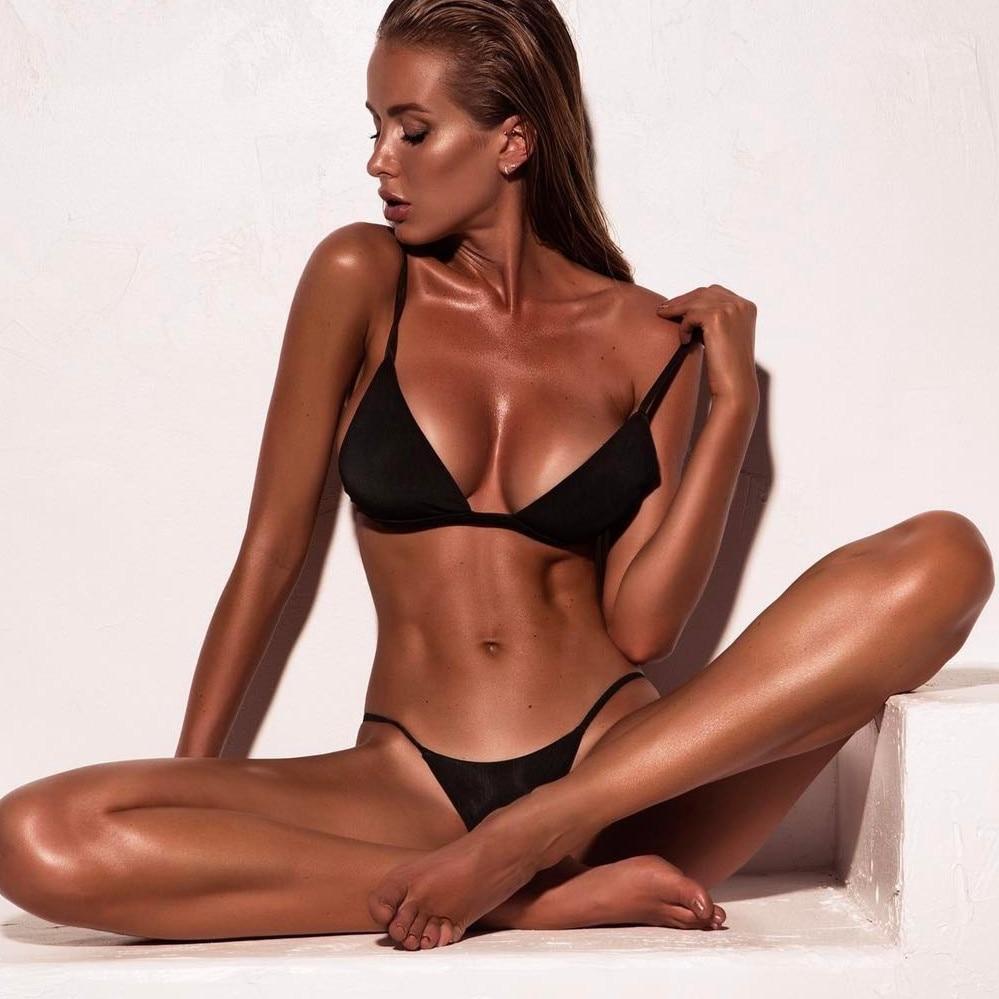 Women Micro Bikini Set Push Up Swimwear Solid Beach Bathing Suit Brazilian Thong Swimsuit For Girls Bikini Swim Suit Femme