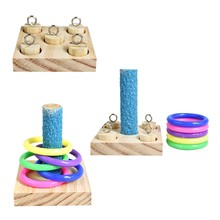 Oiseaux perroquet en bois plate-forme en plastique anneaux Intelligence formation mâcher Puzzle jouet bloc animal de compagnie cadeaux éducatifs