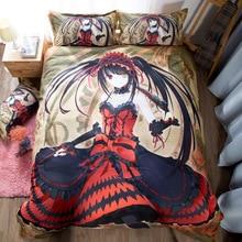 Anime Tokisaki Kurumi 3d Printed Bedding Set Duvet Cover + Pillow Case Comforter Bedclothes US King Queen Size 3 Pcs for Home