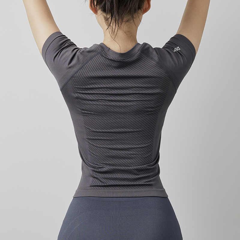Delle donne Senza Soluzione di Continuità yoga Casacche e maglie A Manica Corta di Estate Corsa e Jogging Palestra Camicia Crop Magliette e camicette Delle Donne Abbigliamento Sportivo di Fitness Vestiti di Sport T Shirt SY2006