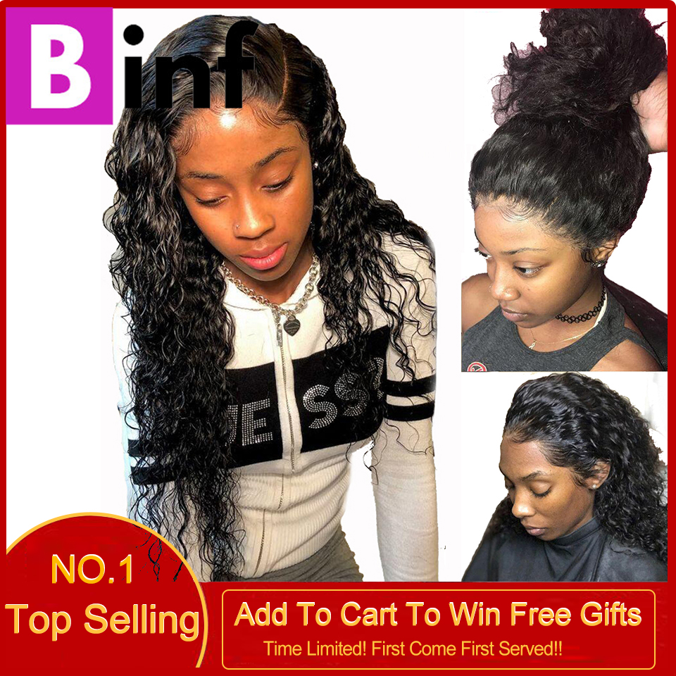 BINF Hair Indian Deep Wave Human Hair Wigs 360 Lace Frontal Wig With Baby Hair Pre-Plucked Non Remy Hair Natural Black For Women