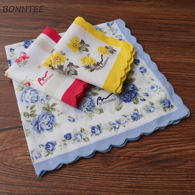Handkerchiefs Women Floral Retro Kawaii All-match Korean Leisure Womens Comfortable Chic Various Colors Female Handkerchief New