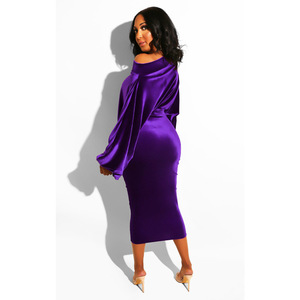 Image 2 - Women New 2020 Spring Winter Off Shoulder Long Sleeve High Waist Velvet Bodycon Dress Office Lady Pencil Party Dresses 5 Colors