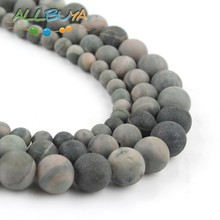 цена 6/8/10mm Natural Matte Beads Green Mud Jaspers Round Loose Stone Beads for Jewelry Making DIY Bracelet Accessories 15