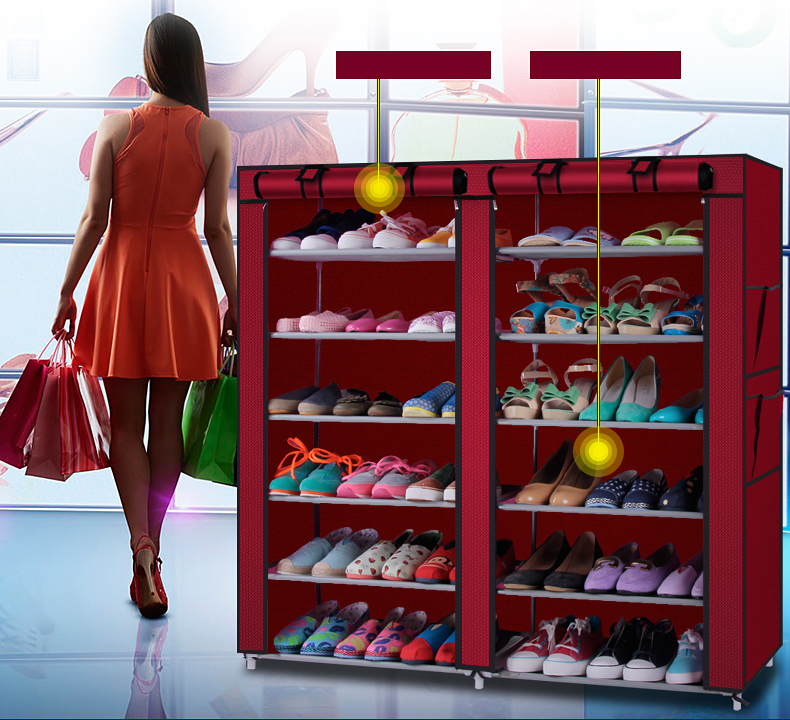 Shelf Cabinet Organizer Shoe-Rack Closet Storage Home 6 with Cover Us-Warehouse Available