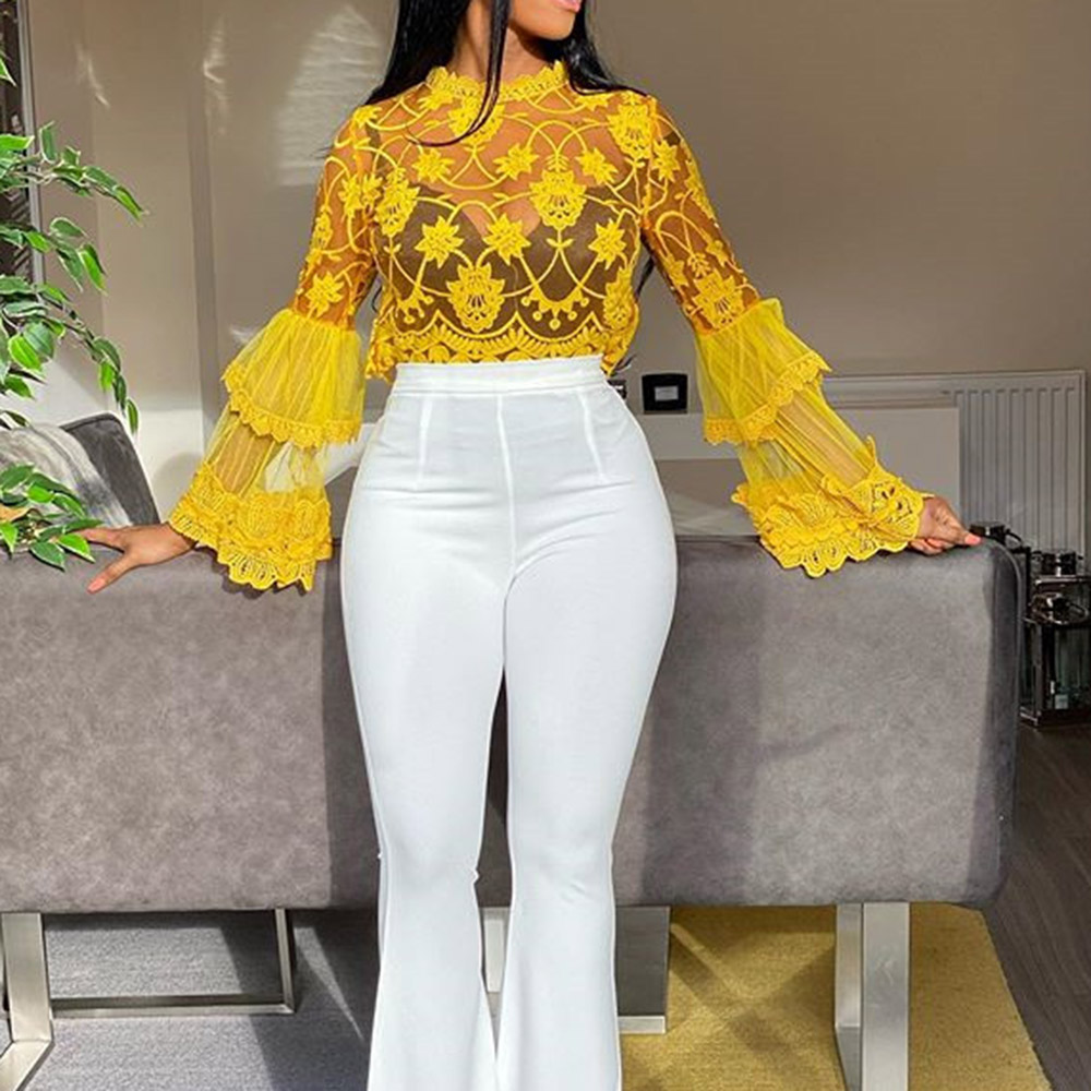 Yellow Long Sleeve Hollow Out Blouse Women Elegant Office Shirt Ladies Sexy Lace Transparent Mesh Tops Clubwear 2020 Summer