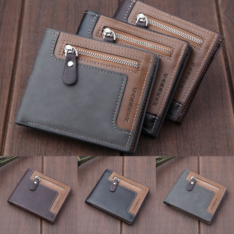 Men/'s PU Leather Short Money Clip Bifold Wallet Coin Purse ID Credit Card Holder