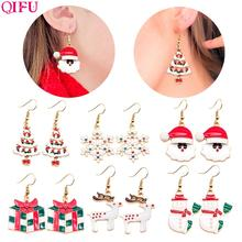 QIFU Merry Christmas Earrings For Women Necklace Pendant Ornaments Decorations Home 2019 Natal