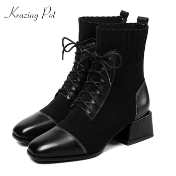 krazing pot 2019 genuine leather med heels square toe gladiator dating dailywear short boots lace up knitting garden boots l01
