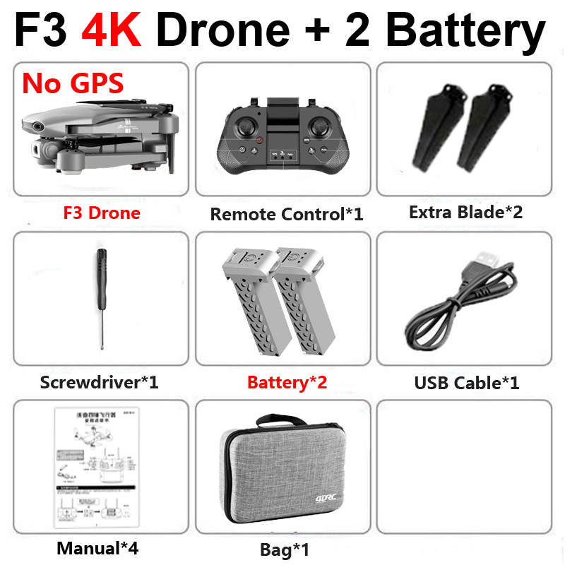 2020 New F3 Drone With 4K HD Dual Camera GPS 5G WiFi FPV Wide Angle Live Video Professional RC Quadcopter Helicopter Toys SG907
