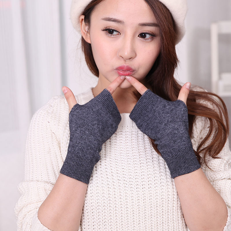Woman Fingerless Gloves Winter New Casual Wild Wool Knitted Crochet Gloves Warm Wrist Short Gloves Cashmere Stretch Mittens NEW