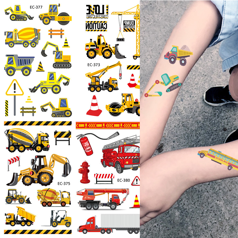 Cartoon Farm Theme Construction Vehicle Temporary Tattoo Excavator Sticker Bulldozer Loader Stickers Boys Birthday Party Gifts